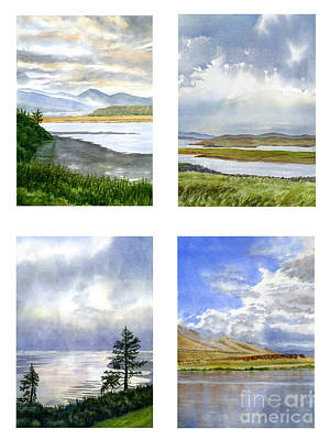 Oregon Coast Painting - Clouds And Sky Reflections Watercolor Poster by Sharon Freeman