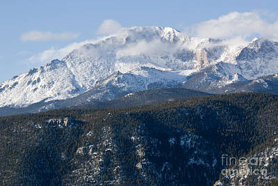 Photograph - Clouds And  Snow On Pikes Peak Colorado by Steve Krull