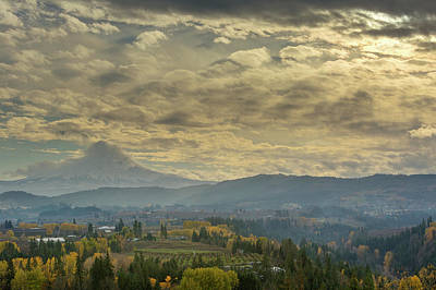 Clouds And Sun Rays Over Mount Hood And Hood River Oregon Art Print