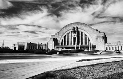 Photograph - Clouds At Cincinnati's Union Terminal Bw by Mel Steinhauer