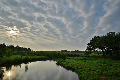 Photograph - Clouds At Sunrise Over Glacial Park Reflected In Nippersink Creek by Ray Mathis