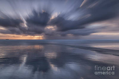 Beach Royalty-Free and Rights-Managed Images - Clouds at Sunset by Masako Metz