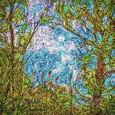 Digital Art - Clouds Caress Trees by Joel Bruce Wallach