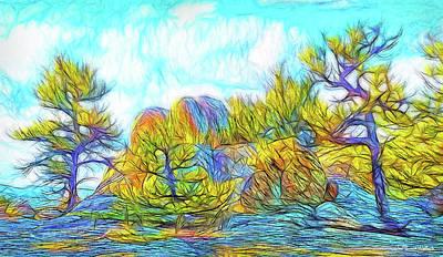 Trippy Digital Art - Clouds Embrace Pines - Colorado Mountain Trees by Joel Bruce Wallach