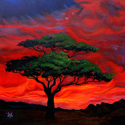 Tree At Sunset Painting - Clouds Like Fire by Alexis Keys Art