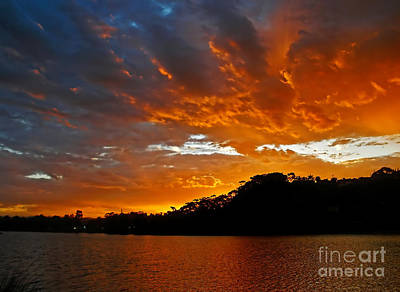 Yellow On Blue Photograph - Clouds Of Fire          by Kaye Menner