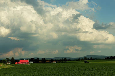 Photograph - Clouds Over A Red Farmhouse by Bill Jordan