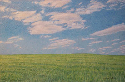 Clouds Over Green Field Art Print