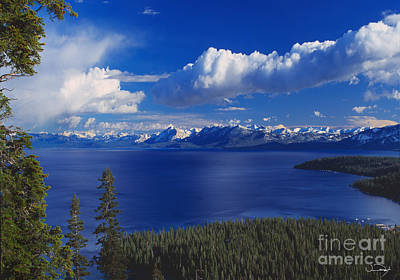 Spring Landscape Photograph - Clouds Over Lake Tahoe by Vance Fox