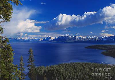 Clouds Over Lake Tahoe Art Print by Vance Fox