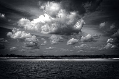 Carolina Beach Photograph - Clouds Over Masonboro Island In Black And White by Greg Mimbs