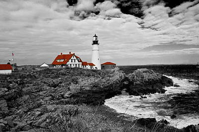 Photograph - Clouds Over Portland Head Lighthouse - Bw by Lou Ford