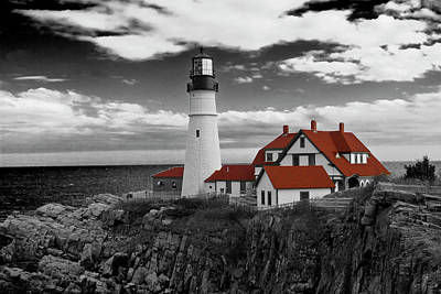 Clouds Over Portland Head Lighthouse 3 - Bw Art Print by Lou Ford