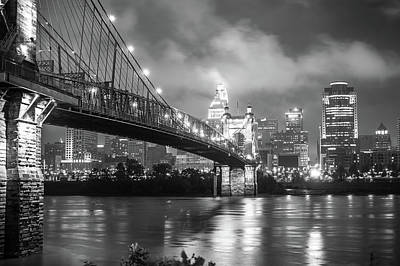 Photograph - Clouds Over The Cincinnati Skyline - Black And White Night Cityscape by Gregory Ballos
