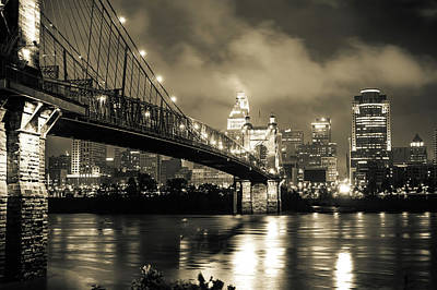 Photograph - Clouds Over The Cincinnati Skyline - Night Cityscape - Sepia by Gregory Ballos