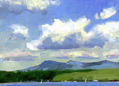 Clouds Over The Lake Art Print by Mary Byrom