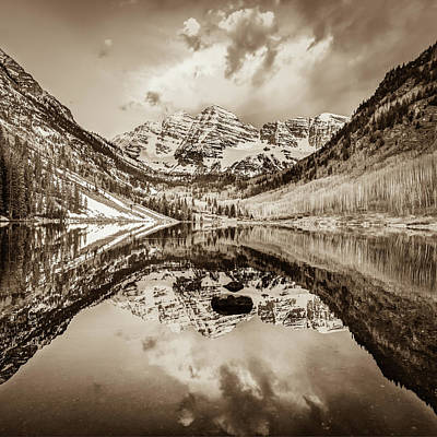 Soap Suds - Clouds over the Maroon Bells - Sepia by Gregory Ballos