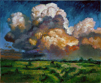 Cloud Formations Painting - Clouds Over The Prairie by John Lautermilch