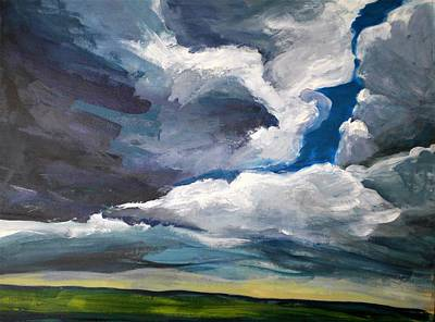 Painting - Clouds Over The Prairie by Sally Bullers