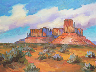 Art Print featuring the painting Clouds Passing Monument Valley by Diane McClary