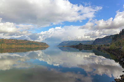 Clouds Reflection On The Columbia River Gorge Art Print by David Gn