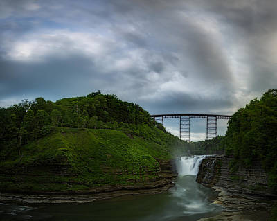 Photograph - Clouds Roll Over Letchworth Upper Falls  by Chris Bordeleau