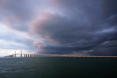Photograph - Clouds Roll Over Sunshine Skyway by Daniel Woodrum