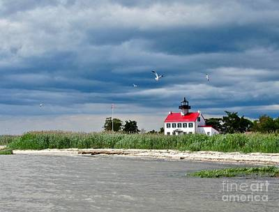 Photograph - Clouds Rolling In Over East Point Light by Nancy Patterson