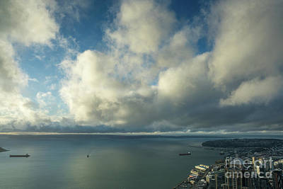 Seattle Photograph - Clouds Skies Reflected Over Elliott Bay by Mike Reid