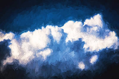 Photograph - Clouds Stratocumulus Blue Sky Painted 7 by Rich Franco