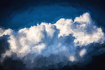 Photograph - Clouds Stratocumulus Blue Sky Painted 8 by Rich Franco