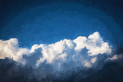 Photograph - Clouds Stratocumulus Blue Sky Painted Bw 3 by Rich Franco