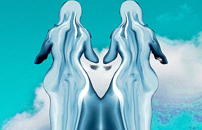 Gemini Painting - Clouds Watching Statues by Abstract Angel Artist Stephen K
