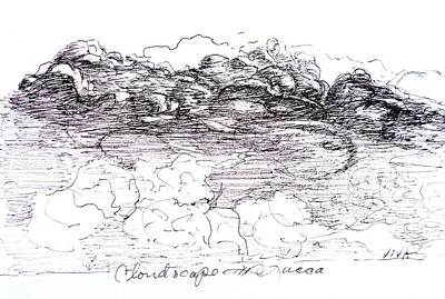 Drawing - Cloudscape Lucca - B - W by VIVA Anderson