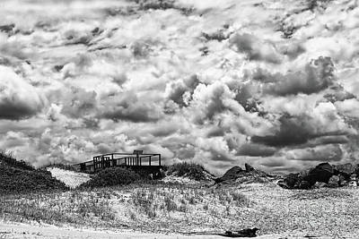 Print featuring the photograph Cloudy Beach Black And White By Kaye Menner by Kaye Menner