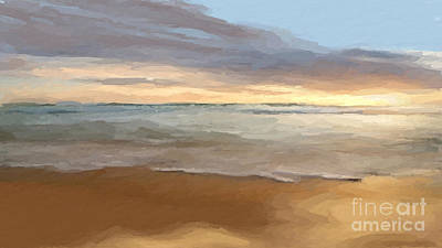 Mixed Media - Cloudy Beach Sunset by Anthony Fishburne