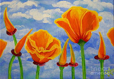 Painting - Cloudy California Poppies Sky Orange Wildflowers Flowers Bright Bold Colors Beautiful by Jackie Carpenter