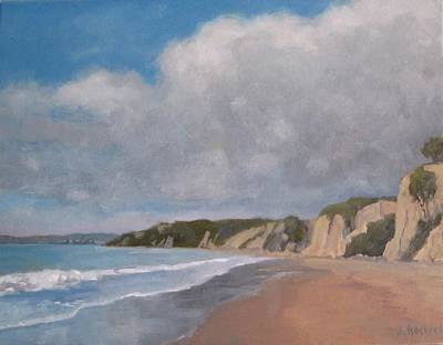 Cloudy Day At Summerland Beach Art Print by Jennifer Boswell