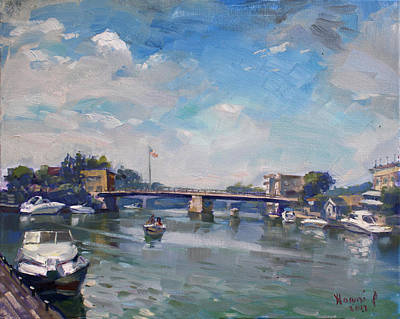 Harbor Bridge Wall Art - Painting - Cloudy Day At Tonawanda Gateway Harbor by Ylli Haruni