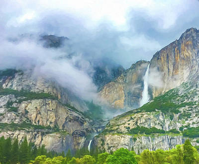 Cloudy Day At Yosemite Falls Digital Watercolor Art Print