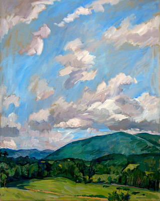 Abstract Realist Landscape Painting - Cloudy Day Berkshires by Thor Wickstrom