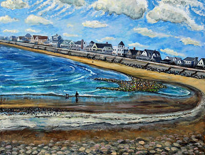 Art Print featuring the painting Cloudy Day In Green Harbor  by Rita Brown
