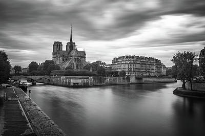 Paris Skyline Royalty-Free and Rights-Managed Images - Cloudy Day on the Seine by James Udall
