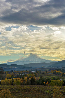 Farmland Photograph - Cloudy Day Over Mount Hood At Hood River Oregon by David Gn