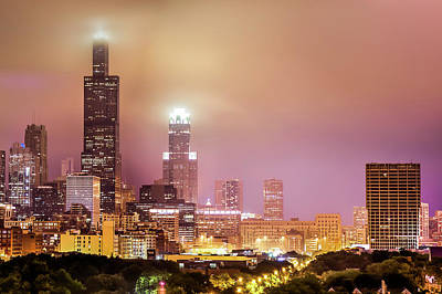 Cloudy Downtown Chicago Skyline Art Print
