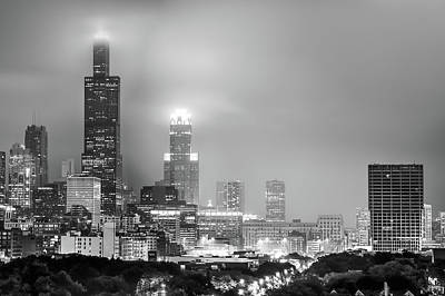 Wall Art - Photograph - Cloudy Downtown Chicago Skyline In Black And White by Gregory Ballos