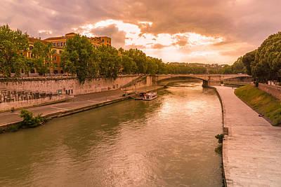 Cloudy Evening Over Tiber Art Print by Yana Reint