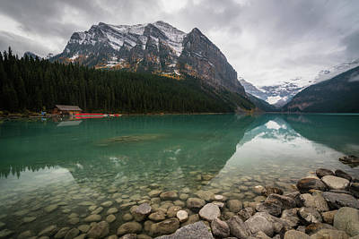 Cloudy Fall Day At Lake Louise Art Print
