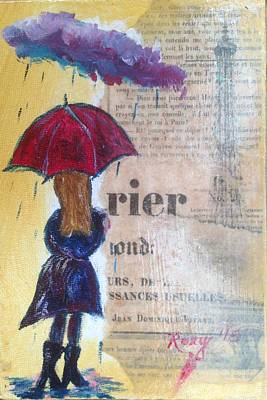 Red Umbrella Painting - Cloudy Is Cool In Paris by Roxy Rich