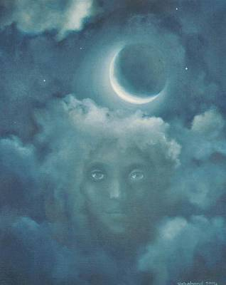 Painting - Cloudy Moon Girl by Suzn Art Memorial